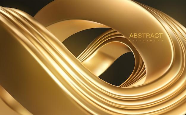 Fundo de luxo abstrato com forma ondulada dourada