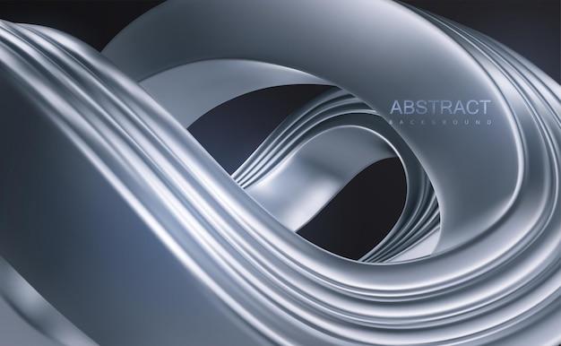 Fundo de luxo abstrato com forma trançada de prata