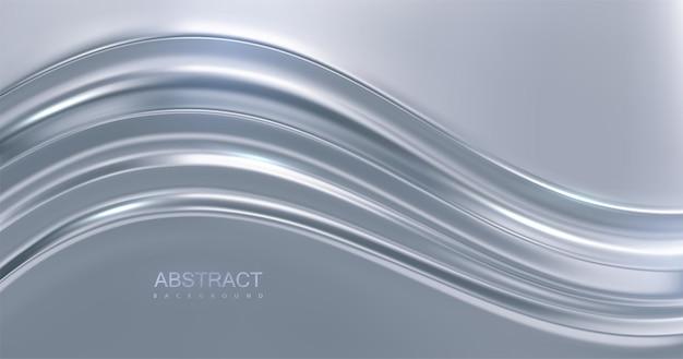 Fundo de luxo abstrato com superfície ondulada prateada