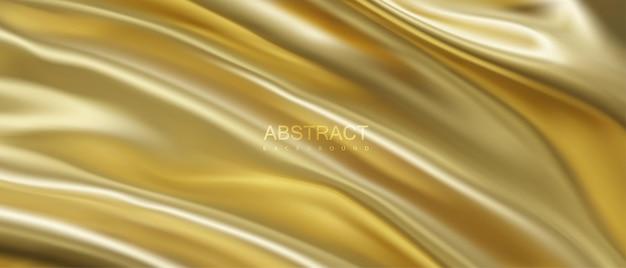 Fundo de luxo abstrato com tecido dourado ondulado