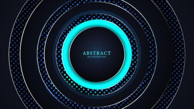 Fundo de luxo abstrato preto e azul com formas redondas