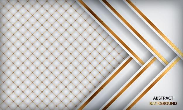 Fundo de luxo branco elegante. couro branco texturizado com detalhes em metal dourado.