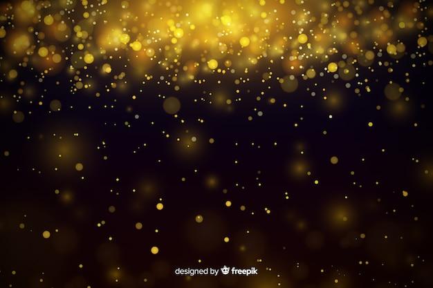 Fundo de luxo com bokeh de partículas de ouro