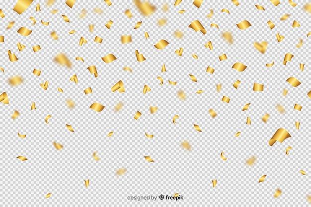 Fundo de luxo com confete dourado caindo