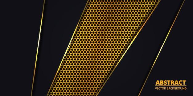 Fundo de luxo com fibra de carbono hexágono dourado.