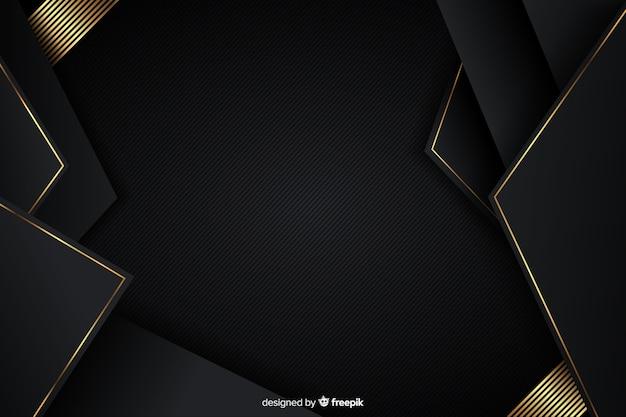 Fundo de luxo com formas abstratas douradas