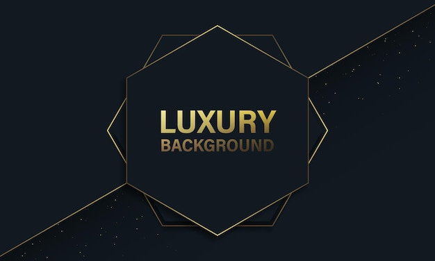 Fundo de luxo com linha hexagonal e dourada azul escura. ilustração vetorial.