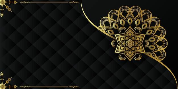 Fundo de luxo com ornamento de mandala de arabescos islâmicos dourados em superfície escura