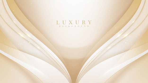 Fundo de luxo de linha de curva dourada, design moderno da capa. conceito de modelo de cartão de convite. ilustração vetorial.