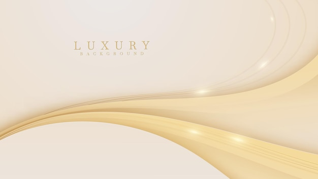 Fundo de luxo de linhas douradas de curva. estilo de corte de papel realista elegante 3d.