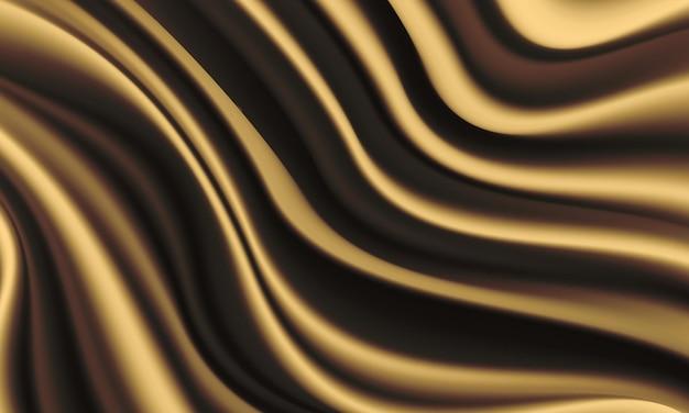 Fundo de luxo de onda de cetim dourado de seda dourada realista onda de tecido