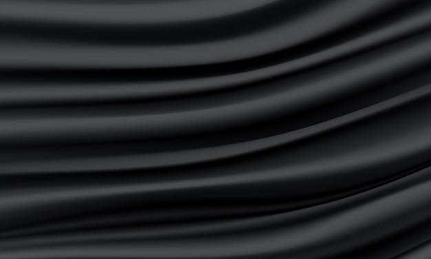 Fundo de luxo de onda de cetim preto de seda preto realista ondulado