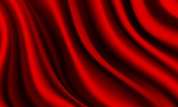 Fundo de luxo de onda realista de cetim de seda vermelho profundo tecido enrugado