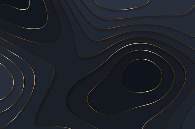 Fundo de luxo de papel preto de corte geométrico com elementos de ouro, conceito de mapa de topografia.