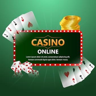 Fundo de luxo do cassino vip com cartas de jogar criativas e moedas de ouro