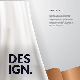 Fundo de luxo elegante com cortina branca, modelo de banner de mídia social