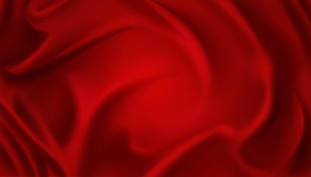 Fundo de luxo elegante em cetim vermelho com dobras e ondas