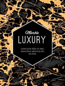 Fundo de luxo em mármore dourado com banner hexogen. molde do projeto da textura de mármore do vetor.