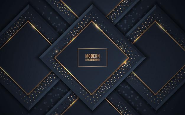 Fundo de luxo escuro sobreposição de camadas com brilhos dourados