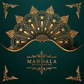 Fundo de luxo mandala dourada com arabescos dourados estilo oriental islâmica árabe
