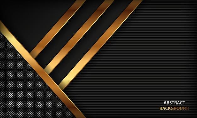 Fundo de luxo preto abstrato com linhas douradas e decoração prateada e brilhante