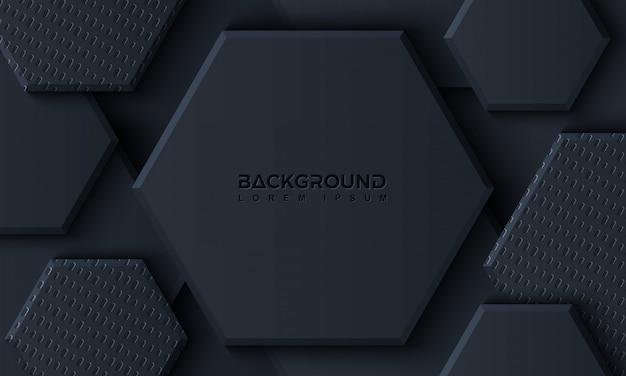 Fundo de luxo preto hexágono com estilo 3d