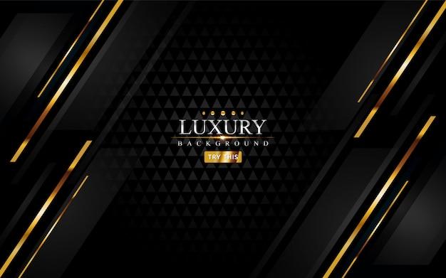 Fundo de luxo preto moderno com elemento de linhas douradas.