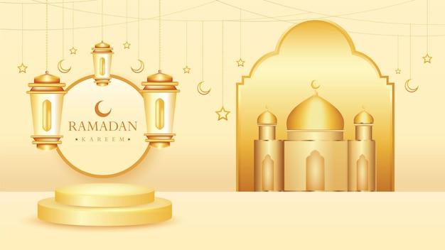 Fundo de luxo ramadan kareem com lâmpada 3d realista