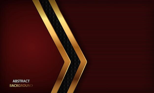 Fundo de luxo vermelho escuro com design dourado realista.