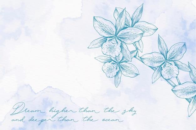 Fundo de luz azul em pó pastel mão desenhada