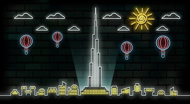 Fundo de luz de néon de viagens e viagem de dubai