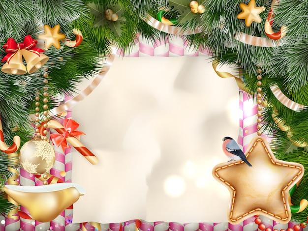 Fundo de luz e flocos de neve de cartão de natal. feliz natal deseja design e decoração de ornamento vintage. mensagem de feliz ano novo.