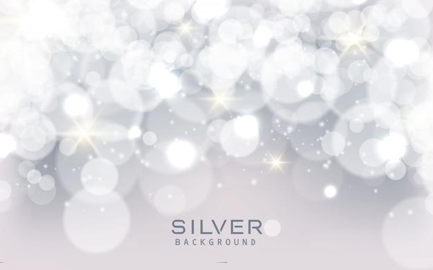 Fundo de luzes brilhantes abstrato prata