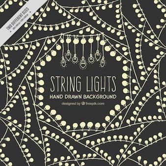 Fundo de luzes de cordas no estilo retro