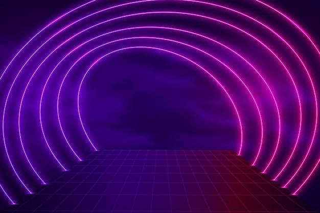 Fundo de luzes de néon com formas realistas