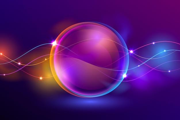 Fundo de luzes de néon de círculo realista