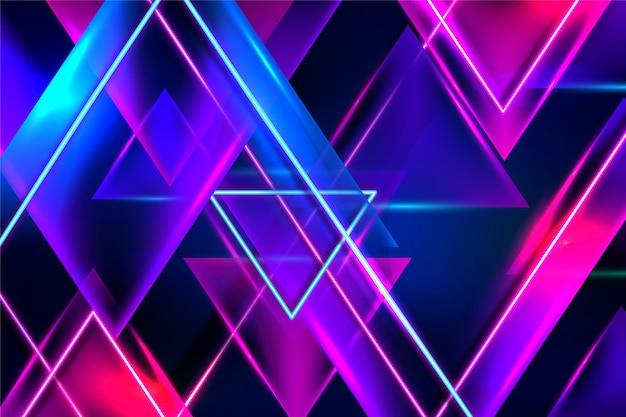 Fundo de luzes de néon de desenho geométrico
