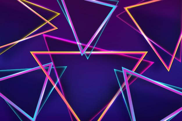 Fundo de luzes de néon de formas geométricas