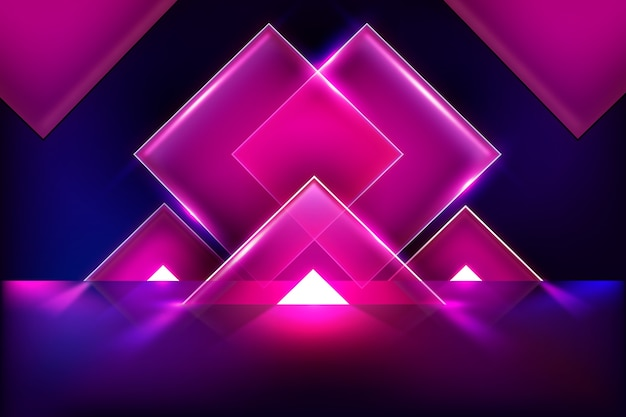 Fundo de luzes de néon de modelos geométricos