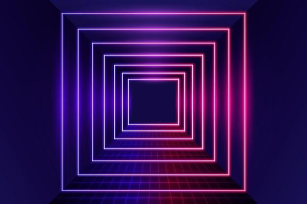 Fundo de luzes de néon de quadrados realistas
