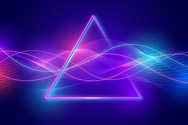 Fundo de luzes de néon de triângulo realista