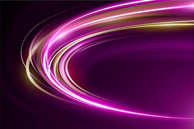 Fundo de luzes de néon de velocidade dourada e violeta