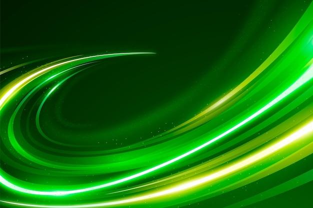 Fundo de luzes de néon de velocidade dourado e verde