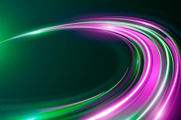 Fundo de luzes de néon de velocidade violeta e verde