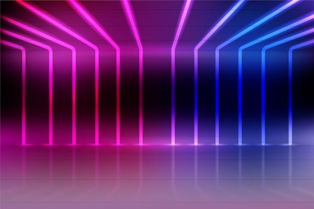 Fundo de luzes de néon em gradiente azul e violeta
