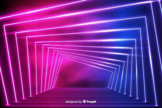 Fundo de luzes de néon geométricas brilhantes