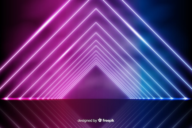 Fundo de luzes de néon geométricas radiantes