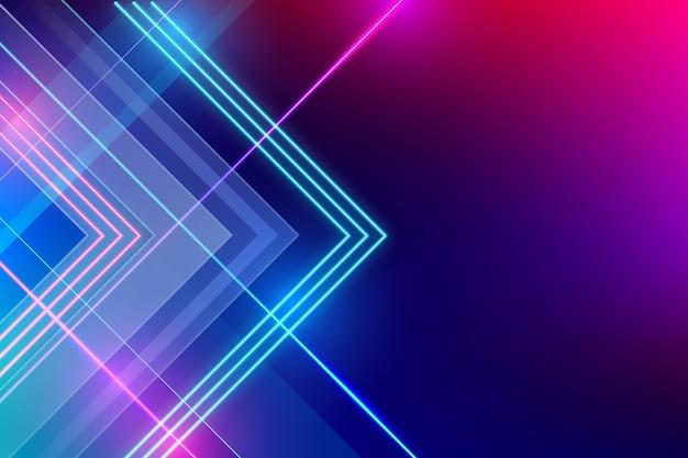 Fundo de luzes de néon geométricas realistas