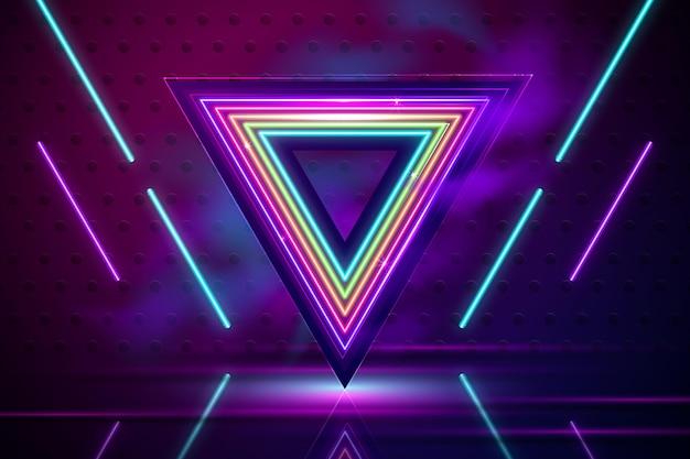 Fundo de luzes de néon realista com triângulo