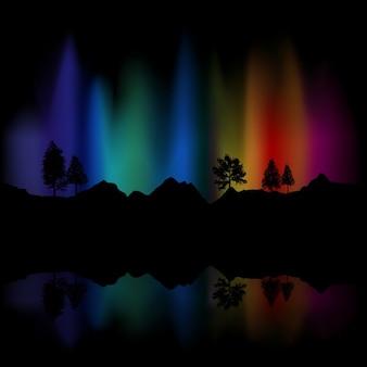Fundo de luzes do norte no céu refletida no lago